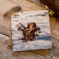 PSBC007 - Look what I found, working dog greeting card.