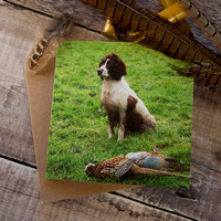 PSBC008 - Mine, working dog with pheasant, greeting card