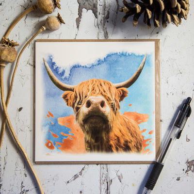 FYA002 - Highland cow on watercolour background