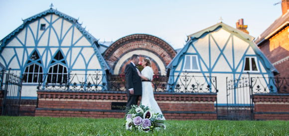 Bride and Groom outside pump rooms